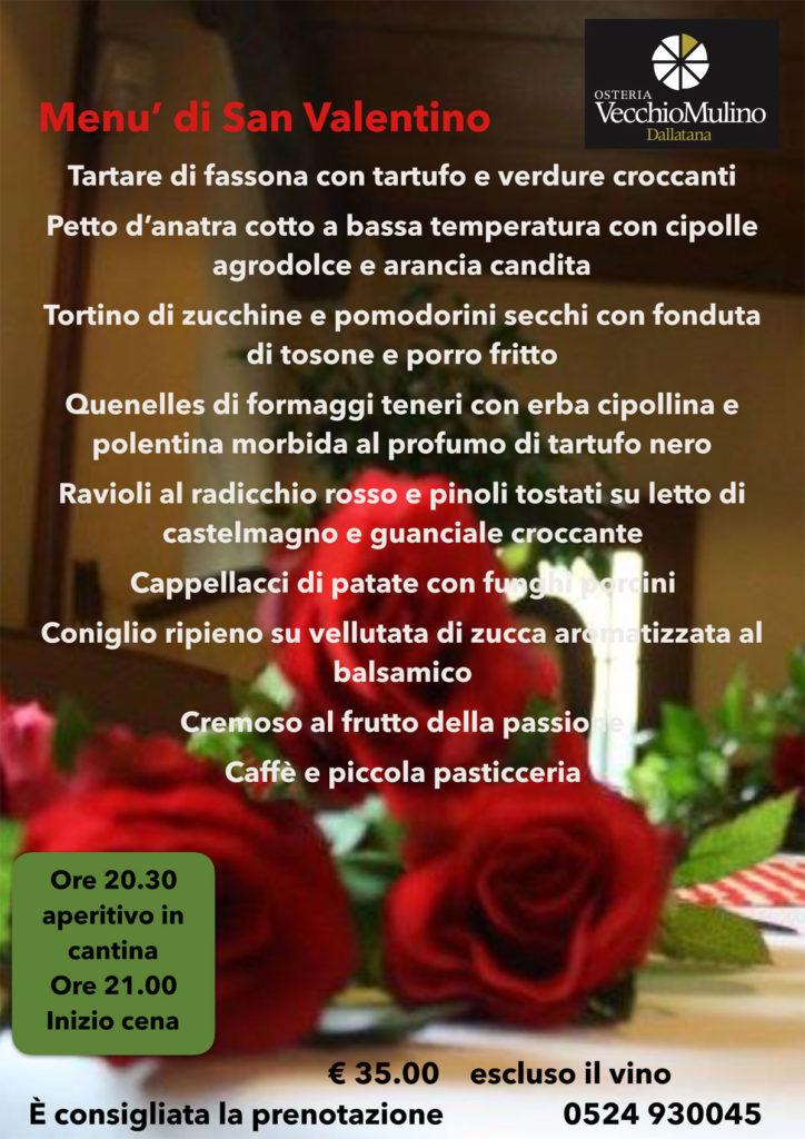 Saint Valentine Menu